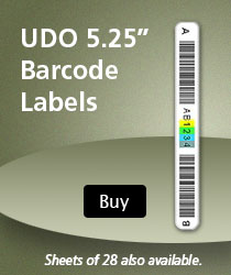 UDO 5.25 inch barcode lables