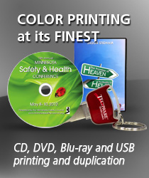 CD, DVD, Blu-ray and USB printing and duplication services.